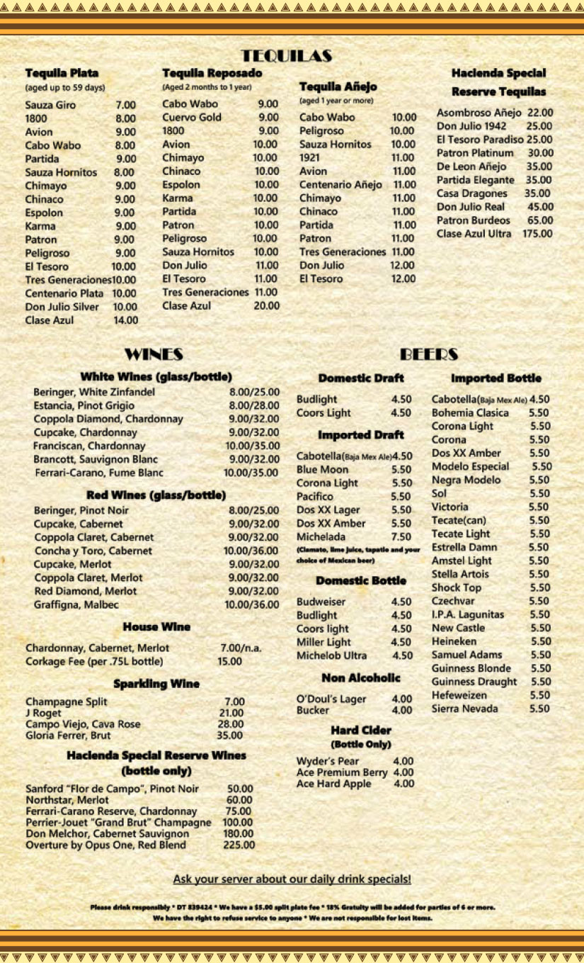 Hacienda on the Lake Bar Menu
